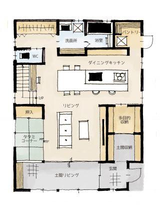 遊び心あふれる土間リビングのある家の間取り | 2階建・45坪・3LDK
