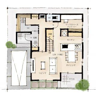 2階に浴室&洗面所でお洗濯がラクになる間取り | 2階建・32坪・2LDK