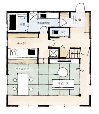 床に座ってくつろげるタタミリビングの家の間取り | 2階建・33坪・3LDK