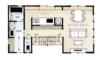 小さな敷地に建つ大きなお家の間取り | 3階建・36坪・2LDK