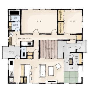 「猫と暮らす中庭テラスのある家」の間取り | 平屋・31坪・3LDK