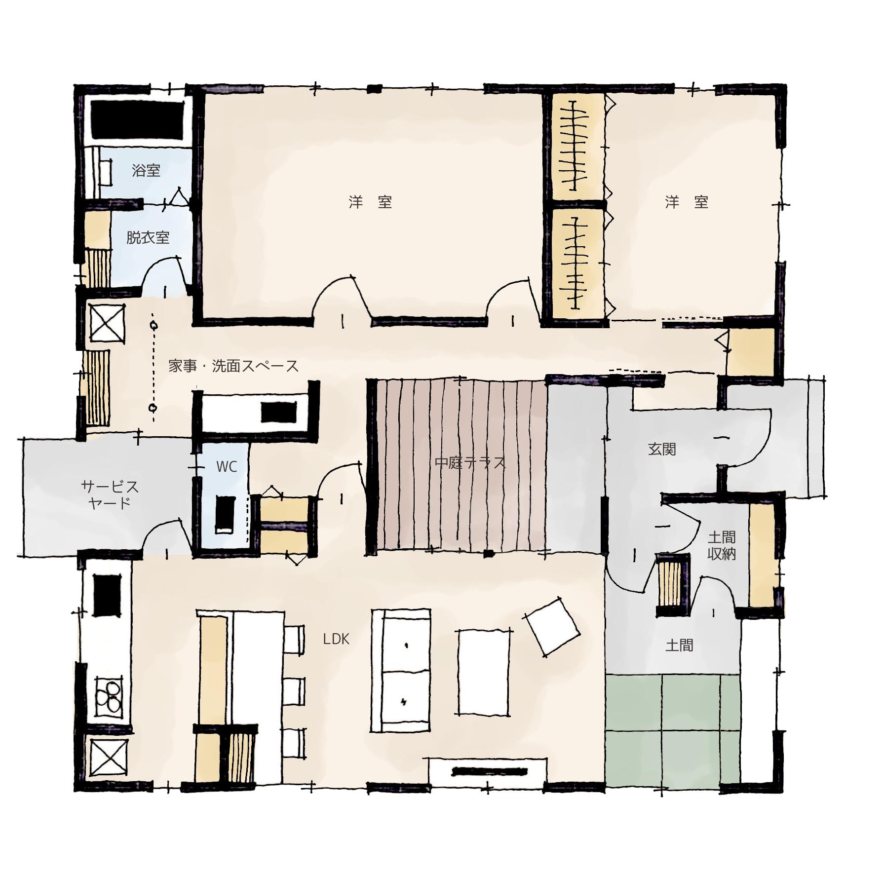 【SUUMO】中庭のある家 間取り 平屋に関する注文 …