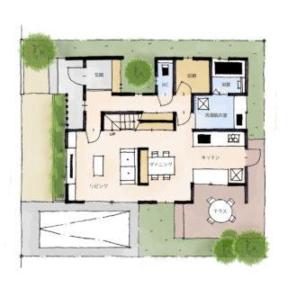 カフェテラスのある家の間取り | 2階建・36坪・4LDK