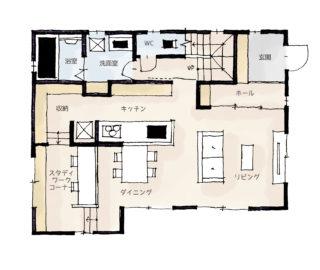 ワークスペースのある家の間取り | 32坪・3LDK・2階建